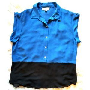 Michael Kors Blue/Black XL Button Up Blouse